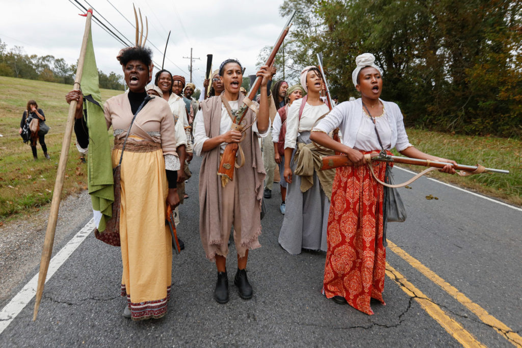 Documentation of Slave Rebellion Reenactment, a community engaged performance initiated by Dread Scott. Performend November 8-9, 2019 in the outskirts of New Orelans. Photographed by Soul Brother